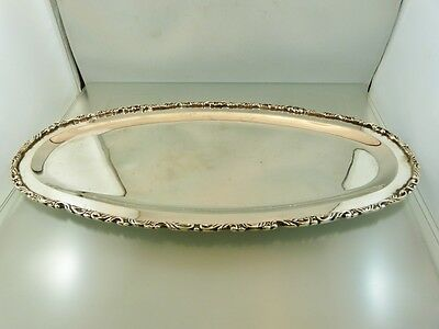 "Applied Scroll Border Oval Serving Tray 16"" Sterling By Fcs 1 Mexico"