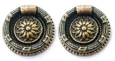 Set of 2 Solid Brass Round Ring Pulls Victorian Style