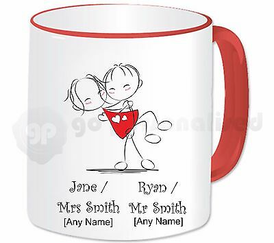 Personalised Mr And Mrs Mug Cup Love Heart Romantic Valentine's Wedding Gift #1