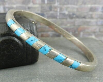 Taxco Mexico Sterling Silver Inlaid Turquoise Bangle Bracelet