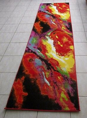 New Colourful Modern Heatset Quality Floor Hallway Runner Rug 80X300Cm