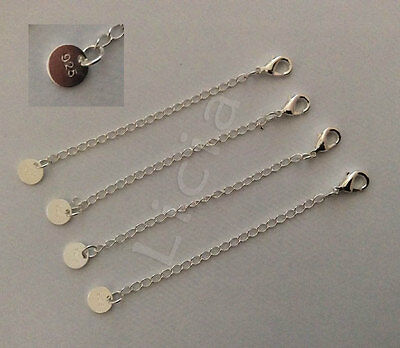925 Sterling Silver Chain Extender Necklace Bracelet Extansion Lobster Clasp