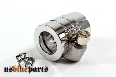 Chrome Grooved Hose End clamp for steel braided oil hose 3/8 & 5/16 Harley