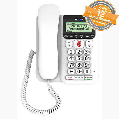 BT Decor 2600 Large Buttons Corded Phone with Advanced Call Blocker & Caller ID