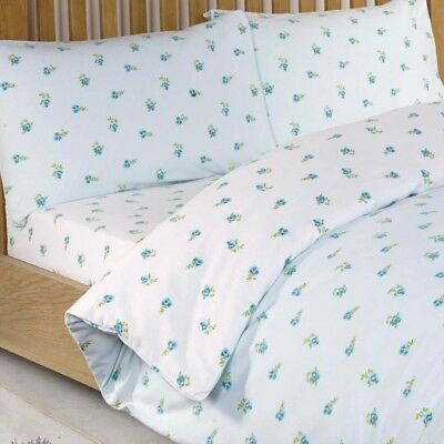 King Size Floral Print Fitted Sheet 100% Cotton Bedding Bed Linen Blue Litecraft