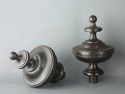 French Antique Pair Of  Turned Wood Finials