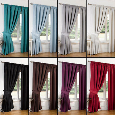 PAIR Of Faux Silk Pencil Pleat Blackout Curtains Ready Made Lined Free Tiebacks