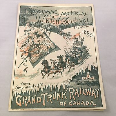 1889 Montreal Winter Carnival Program From Lord Stanley's First Hockey Game!