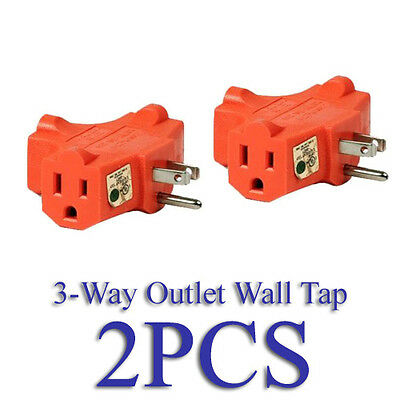 Lot 2 Heavy Duty 3 Way Outlet Wall Plug Tap Power Adapter T Shaped Grounded UL