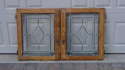 Pair Antique Oak Cabinet Doors Leaded Stained Glass Windows In Oak Frames,nice