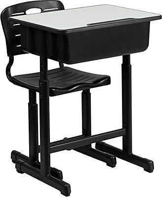 Flash Furniture Adjustable Height Student Desk & Chair with Black Pedestal Frame