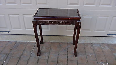 EARLY 20c CHINESE ROSEWOOD SIDE,LAMP TABLE W/CARVED COURT SCENE ON TOPAND SIDES