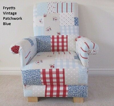 Fryetts Vintage Patchwork Blue Fabric Child's Chair Red Gingham Roses Armchair