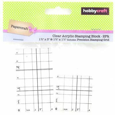 Hobbycraft Clear Acrylic Stamping Blocks Rubber With Grid Lines Craft 2 Pack