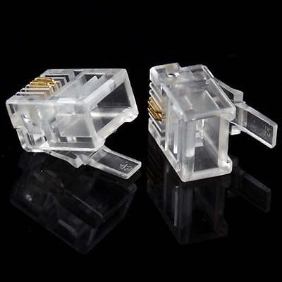 Lot 1-100 RJ11 Connecteur telephonique 2pins 6P2C generique 2/6 Male Transparent