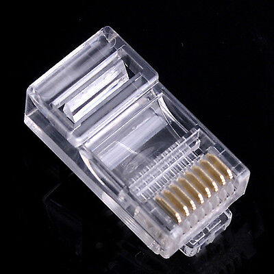 Lot 1-100 RJ45 Connecteur telephonique 8pins 8P8C generique 8/8 Male Transparent