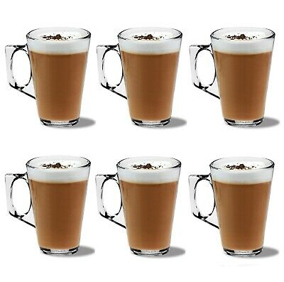 PACK OF 6 LATTE GLASSES COFFEE TEA CAPPUCCINO GLASS 250ml MUGS HOT DRINK CUPS