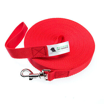 50ft Red Dog Lead & Horse Training Leash. 15m long 25mm Wide Webbing With Clip