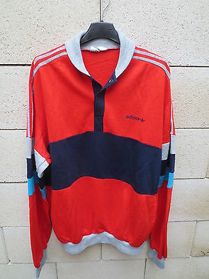 VINTAGE Sweat ADIDAS VENTEX made FRANCE rouge jogging 80's shirt 186 XL ancien