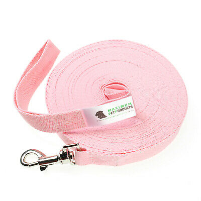 50ft Baby Pink Dog Lead & Horse Training Leash. 15m long 25mm Wide Webbing Clip