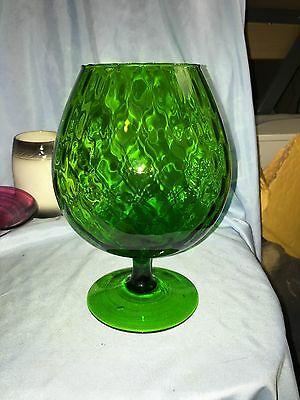 Empoli Large Green Optic Art Glass Vase Brandy Snifter Pedestal Italy