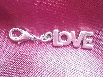 Silver Plated Hand Made Clip on Charm - LOVE VALENTINE WEDDING HEART - CH235