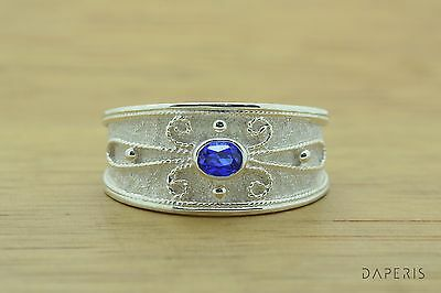 Sapphire Etruscan Byzantine Band Cz Ring Sterling Silver Greek Jewelry Handmade