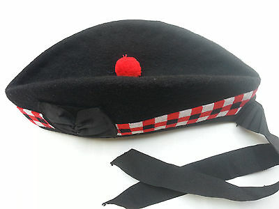 Glengarry Scottish Piper Hat 100% Pure Acrylic Wool Black Triple Diced Hat