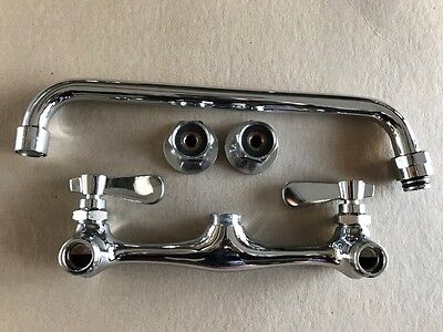 """8"""" Wall-Mounted  Compartment Sink Faucet 12"""" Spout"""