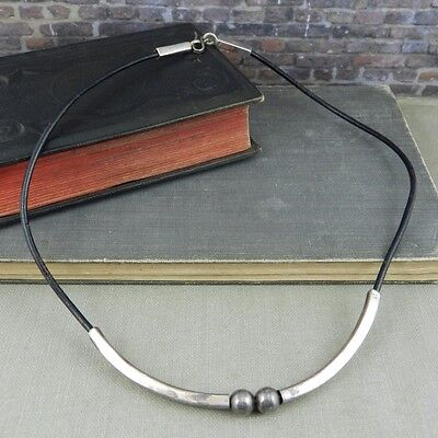 Mexico Sterling Silver & Black Leather Necklace