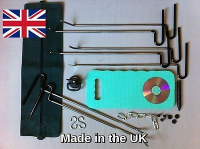 16 pc PAINTLESS DENT REMOVAL / REPAIR TOOLS FOR CAR DENTS,PDR dngs hooks+ DVD