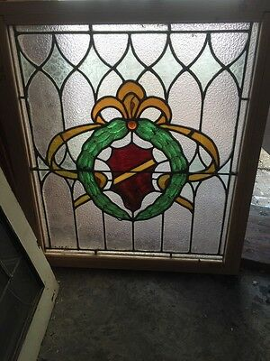 Sg 496 Antique Stainglass Window With Wreath Design 22.25 X 25.25""