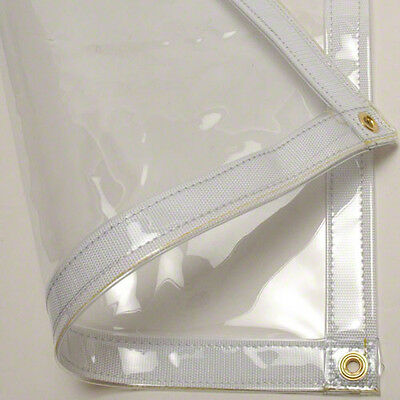 24 MIL Tarp CLEAR SMOOTH GLASS Vinyl Car Boat Cover Fire Retardant (5% OFF 2+)