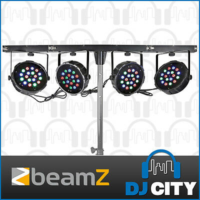 Beamz 4 way LED Parcan Kit with collapsable Bar and Case Perfect Mobile Light...