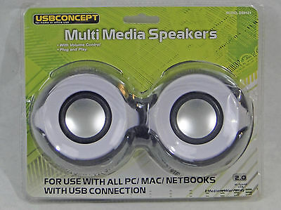 USBConcept Multi Media Stereo Speakers, with built in volume controll, NEW BLACK