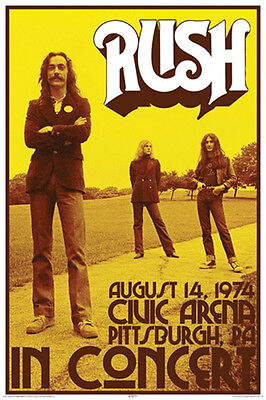 Rush In Concert August 14 1974 Pittsburg PA Music Poster Print New 24x36