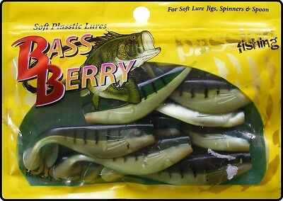 10 x 2.5 Inch Fire Tiger Soft Shad Lures - Jig Jigging Sea Fishing Bait