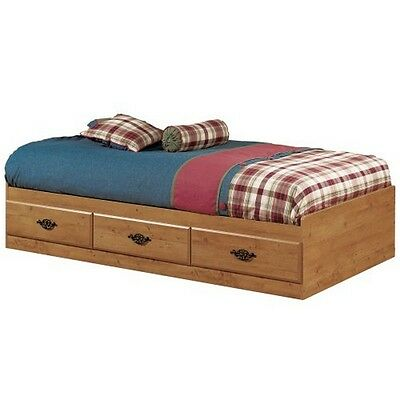 South Shore Prairie Twin Mates Bed (39'') with 3 Drawers, Country Pine