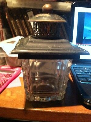 VINTAGE  Copper Glass Outdoor Lantern Porch Lamp Glass Cover Gas Light/victorian