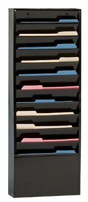 File Folder Wall Rack 11 Tiered Pockets Office Durham Filing Rack for Wall Mount