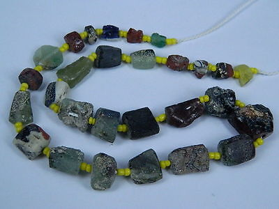 Ancient Fragment Glass Beads Strand Roman 200 BC  #BE1332
