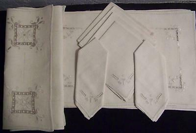 Vintage 13 Piece Italian Hand Embroidery & Cutwork  Place Mats, Napkins & Runner