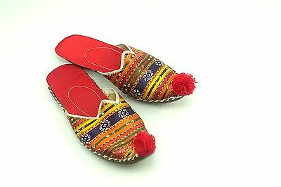 Vintage Turkish Slippers Pompom from Grand Bazaar Istanbul Womens Size 6