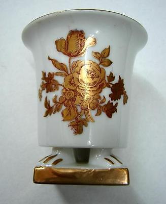Old Vintage Small flower vase  gold dresden flowers