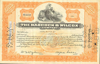 Babcock & Wilcox Company   old stock certificate nuclear energy share