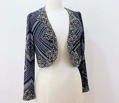 jasdee Bolero Jacket Hand Work Beaded & Sequin On Print Chiffon Style 791