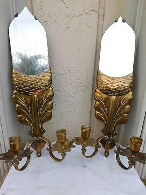 Gorgeous Queen Anne Pair Of  Brass & Mirror Accorn Shaped Wall Sconces