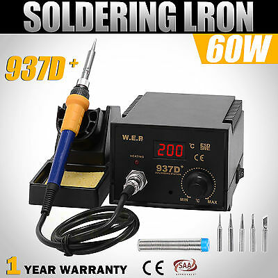 New Soldering Station Digital Display Iron Stand Lead Free ESD Safe 6 Tips