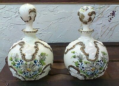 Two Antique Victorian hand painted blue gold Milk Glass Dresser Decanter Bottle