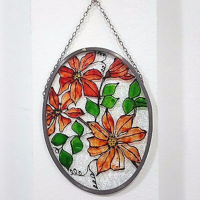 Vintage Stained Glass Panel - Round - Flower - Orange - Leaf - Chain - Window